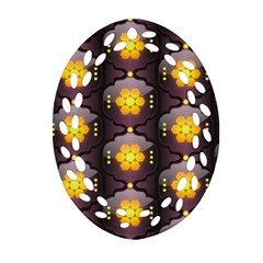Pattern Background Yellow Bright Oval Filigree Ornament (Two Sides)
