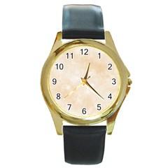 Pattern Background Beige Cream Round Gold Metal Watch