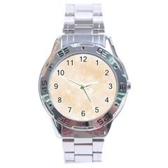 Pattern Background Beige Cream Stainless Steel Analogue Watch