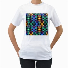 Pattern Background Bright Blue Women s T Shirt (white) (two Sided)