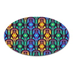 Pattern Background Bright Blue Oval Magnet