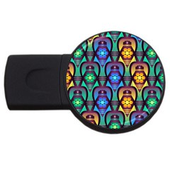 Pattern Background Bright Blue USB Flash Drive Round (2 GB)