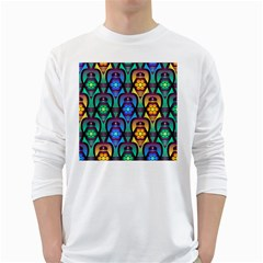 Pattern Background Bright Blue White Long Sleeve T-Shirts