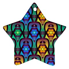 Pattern Background Bright Blue Star Ornament (Two Sides)