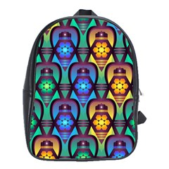 Pattern Background Bright Blue School Bags(Large)