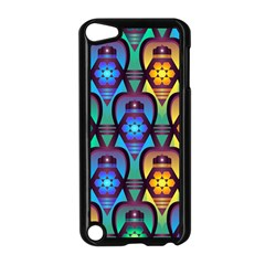 Pattern Background Bright Blue Apple iPod Touch 5 Case (Black)