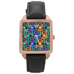 Pattern Background Bright Blue Rose Gold Leather Watch