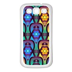 Pattern Background Bright Blue Samsung Galaxy S3 Back Case (White)