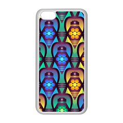 Pattern Background Bright Blue Apple iPhone 5C Seamless Case (White)