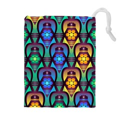 Pattern Background Bright Blue Drawstring Pouches (extra Large)