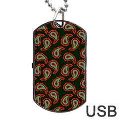 Pattern Abstract Paisley Swirls Dog Tag USB Flash (Two Sides)