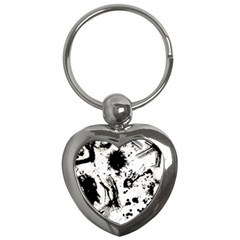 Pattern Color Painting Dab Black Key Chains (Heart)