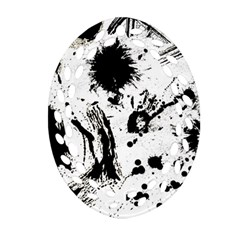 Pattern Color Painting Dab Black Ornament (Oval Filigree)