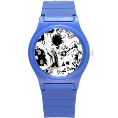Pattern Color Painting Dab Black Round Plastic Sport Watch (S)