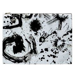 Pattern Color Painting Dab Black Cosmetic Bag (XXL)
