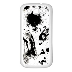 Pattern Color Painting Dab Black Samsung Galaxy S3 Back Case (White)