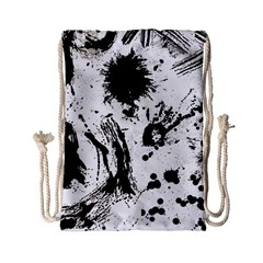 Pattern Color Painting Dab Black Drawstring Bag (Small)