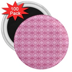 Pattern Pink Grid Pattern 3  Magnets (100 Pack)
