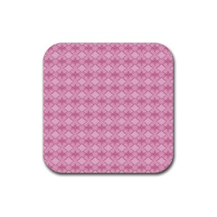 Pattern Pink Grid Pattern Rubber Coaster (Square)
