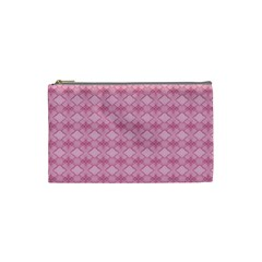 Pattern Pink Grid Pattern Cosmetic Bag (Small)