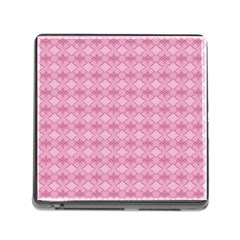 Pattern Pink Grid Pattern Memory Card Reader (square)