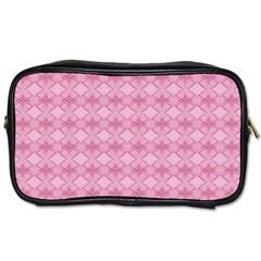 Pattern Pink Grid Pattern Toiletries Bags 2-Side