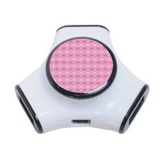 Pattern Pink Grid Pattern 3-Port USB Hub
