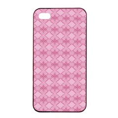 Pattern Pink Grid Pattern Apple Iphone 4/4s Seamless Case (black)