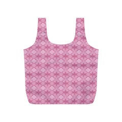 Pattern Pink Grid Pattern Full Print Recycle Bags (S)