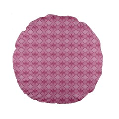 Pattern Pink Grid Pattern Standard 15  Premium Flano Round Cushions