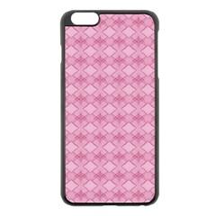 Pattern Pink Grid Pattern Apple Iphone 6 Plus/6s Plus Black Enamel Case