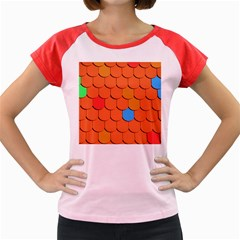 Roof Brick Colorful Red Roofing Women s Cap Sleeve T Shirt