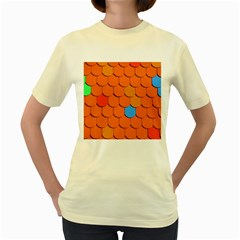 Roof Brick Colorful Red Roofing Women s Yellow T Shirt