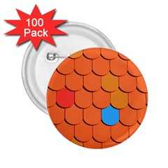 Roof Brick Colorful Red Roofing 2.25  Buttons (100 pack)