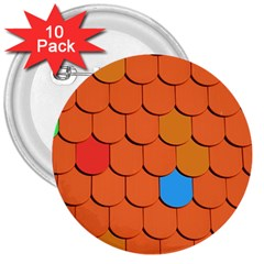 Roof Brick Colorful Red Roofing 3  Buttons (10 pack)