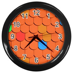 Roof Brick Colorful Red Roofing Wall Clocks (Black)