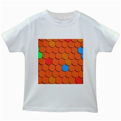 Roof Brick Colorful Red Roofing Kids White T-Shirts