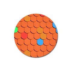 Roof Brick Colorful Red Roofing Magnet 3  (Round)