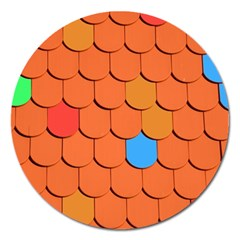 Roof Brick Colorful Red Roofing Magnet 5  (round)