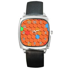 Roof Brick Colorful Red Roofing Square Metal Watch
