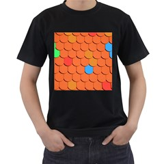 Roof Brick Colorful Red Roofing Men s T Shirt (black) (two Sided)