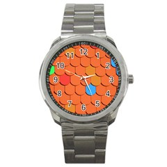 Roof Brick Colorful Red Roofing Sport Metal Watch
