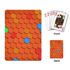 Roof Brick Colorful Red Roofing Playing Card
