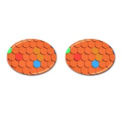 Roof Brick Colorful Red Roofing Cufflinks (Oval)