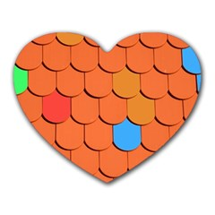 Roof Brick Colorful Red Roofing Heart Mousepads