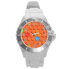 Roof Brick Colorful Red Roofing Round Plastic Sport Watch (L)