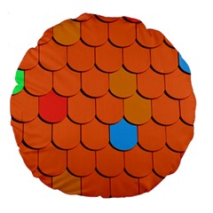 Roof Brick Colorful Red Roofing Large 18  Premium Round Cushions