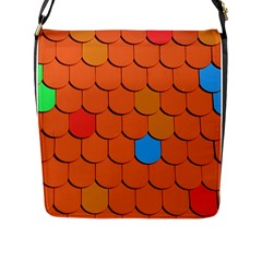 Roof Brick Colorful Red Roofing Flap Messenger Bag (L)