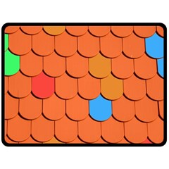 Roof Brick Colorful Red Roofing Double Sided Fleece Blanket (Large)