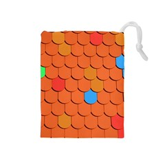 Roof Brick Colorful Red Roofing Drawstring Pouches (medium)